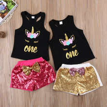 2017 Unicorn Toddler Kids Baby Girls Sleeveless T-shirt Tops Letters One Vest+Shorts Sequins Outfits Cute Bow Set Clothes(China)