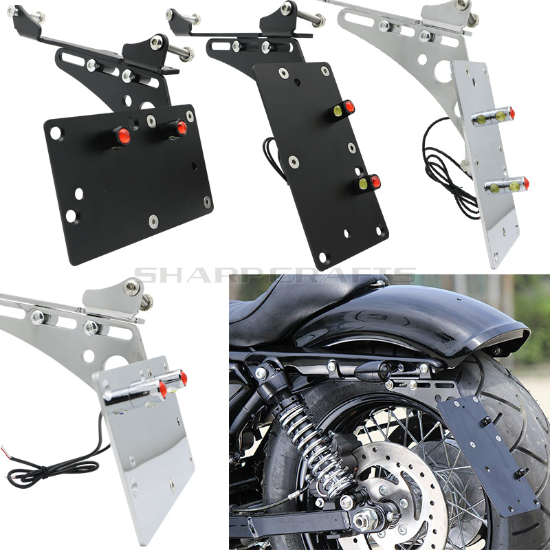 Motorcycle Tail Light Side Mount License Plate Bracket Fits For Harley Sportster Iron 883 1200 XL883