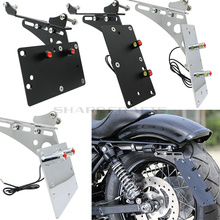 Motorcycle Tail Light Side Mount License Plate Bracket Fits For Harley Sportster 883 Iron 1200 XL883 XL1200 72 48 Chopper Bobber