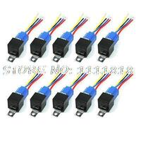 40A 24V DC Harness Wire Ceramic Socket Car Stereo Alarm SPDT NC+NO Relay 10 Pcs