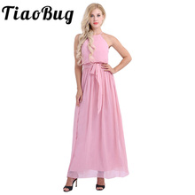 TiaoBug Women Ladies Sleeveless Halter Chiffon Bridesmaid Dresses Full Length Prom Gown Pleated A Line Long Wedding Party Dress