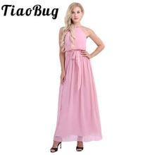 TiaoBug robe de demoiselle dhonneur, en mousseline, pour femmes sans manches licou, robe de bal plissée, longue coupe trapèze, robe de cérémonie de mariage