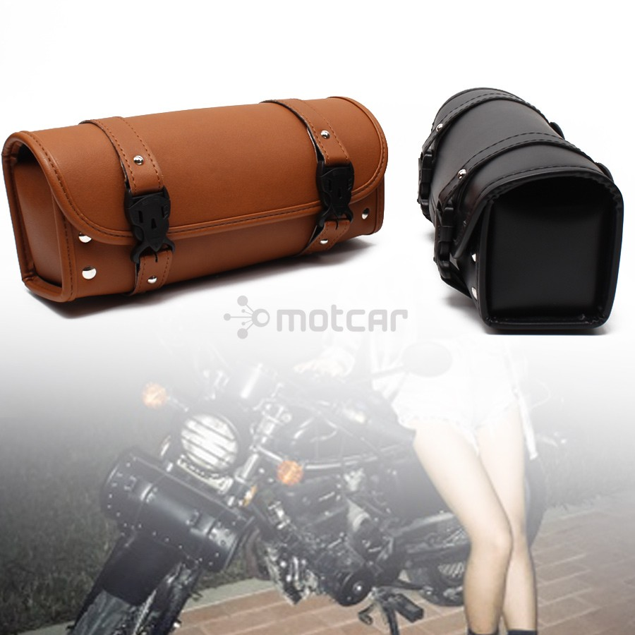 Black Retro Crocodile PU leather Tool Bag Handlebar Sissy Bar Roll Bag For Honda