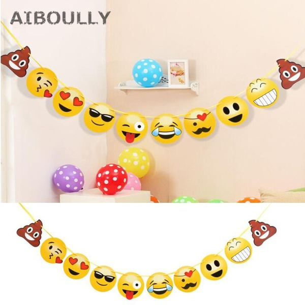 1 Set Emoji Party Banner Smile Face Garland Hand Made Paper Flag Birthday Decor Kids Bedroom Wall Photo Props