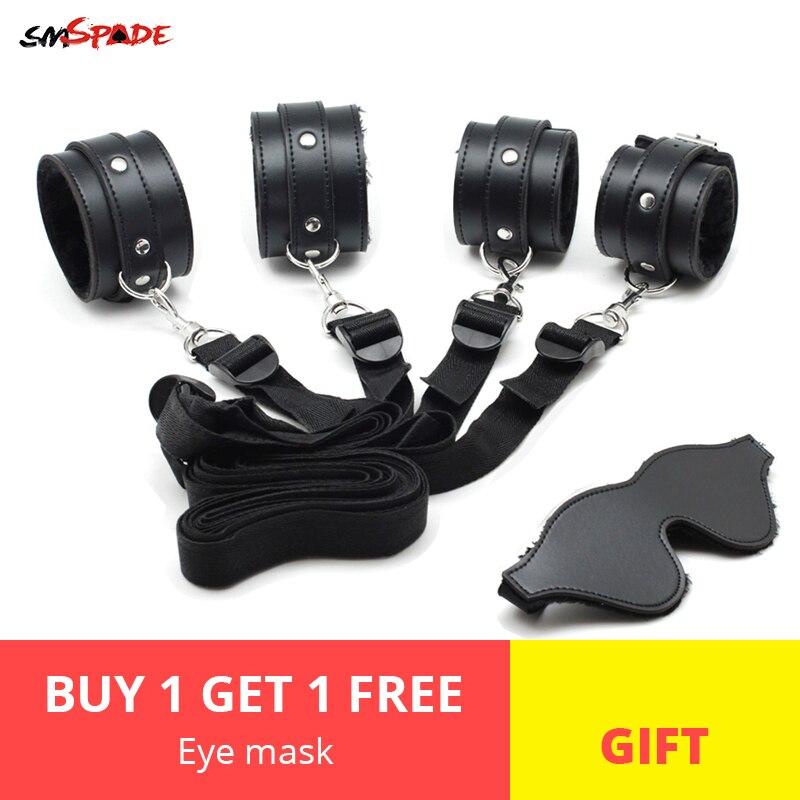 Smspade Bondage Restraints Kit Handcuffs Ankle Cuffs & Sex Mask Bondage Sex Toys for Couples Adult Games Blindfold for Sex Games