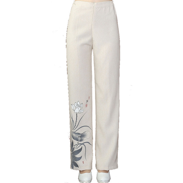 333275cceb4 Plus Size Cotton Linen Long Pants Chinese Women Hand-Painted Trousers Loose Casual  Pant Flare Pants M L XL XXL 3XL 4XL WNS031907