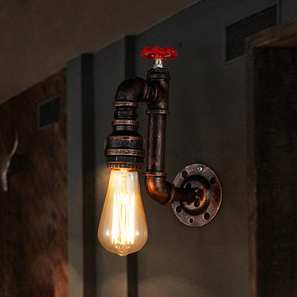 Wall Light Retro Aisle Stairs Porch Lamp American Industrial Bar Wall Sconce Creative Single Head Water Pipe Lampara de pared american retro industrial pipes creative personality hallway stairs restaurant bar single head iron led wall lamp ac220v