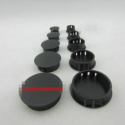 2/4Lots Black Plastic Round Tube Hole Plug Pipe End Cap Cover 5/6/8/10/13/14/16/19/20/22/25/30/35/38/40/45/50mm