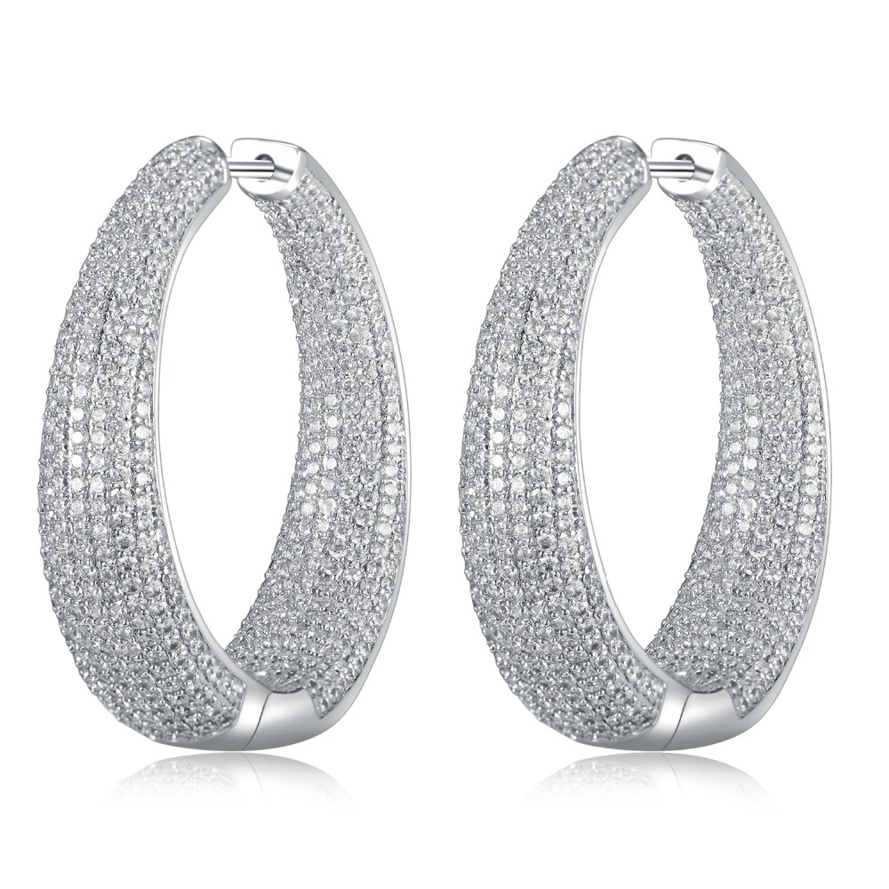 GrayBirds Large Hoop Earrings In Gold And White Color Micro Setting High Quality Clear CZ Big Sexy Ladies Jewelry MLE019GrayBirds Large Hoop Earrings In Gold And White Color Micro Setting High Quality Clear CZ Big Sexy Ladies Jewelry MLE019