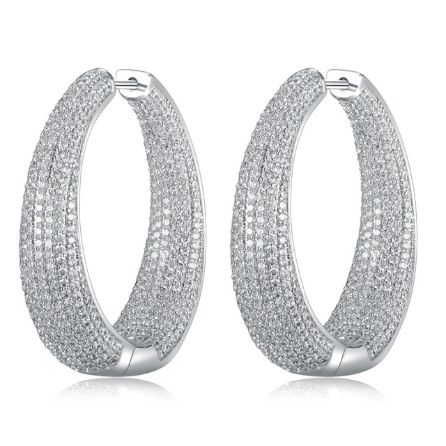 Graybirds Large Hoop Earrings In Gold And White Color Micro Setting High Quality Clear Cz