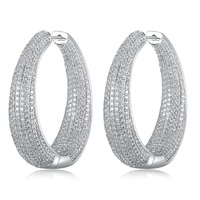 GrayBirds Large Hoop Earrings In Gold And White Color Micro Setting High Quality Clear CZ Big Sexy Ladies Jewelry MLE019
