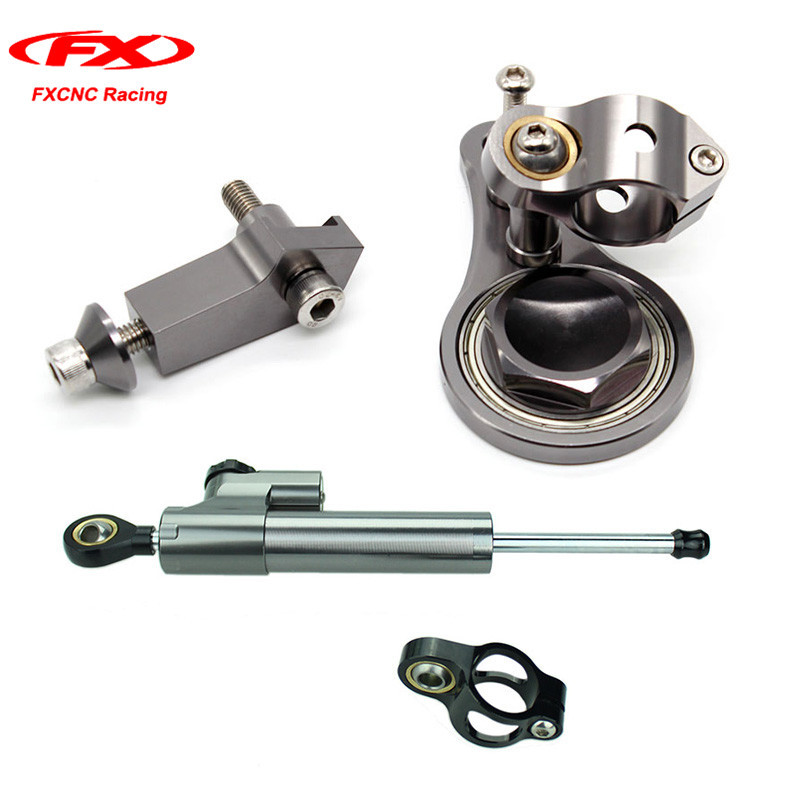 FXCNC Motorcycle Steering Stabilizer Damper Linear + Mounting Brackets for Kawasaki ZX636 ZX 636 ZX6R 2005-2006 (for Kawasaki ) for kawasaki ninja zx 6r zx6r zx636 zx636r zx 636 2005 2006 street bike steering damper mounting kit stabilizer adjustable