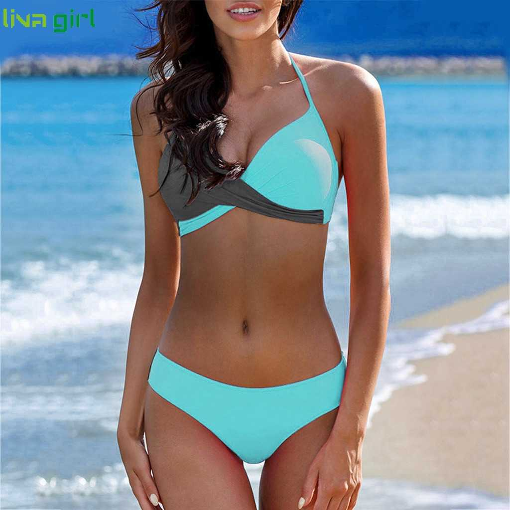 Liva girl Sexy female Bikini Fashion Bandage women two color swimsuit  2019 new Bathing Suit Swimwear Beachwear Brazilian Hot