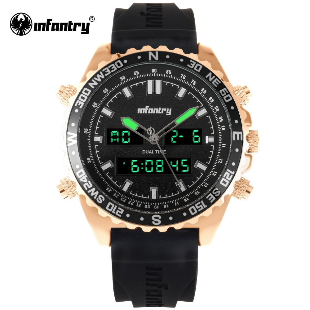 цена на INFANTRY Military Watch Men LED Digital Quartz Mens Watches Top Brand Luxury Tactical Gold Army Aviator Relogio Masculino 2018