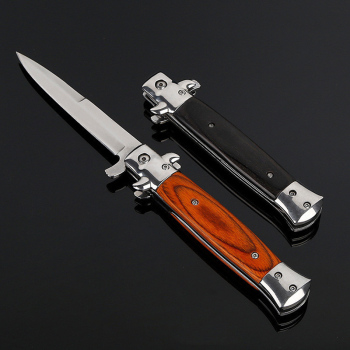 Newest Free ship Folding blade knife High hardness blade wood handle camping knife outdoor stainless steel knives 1