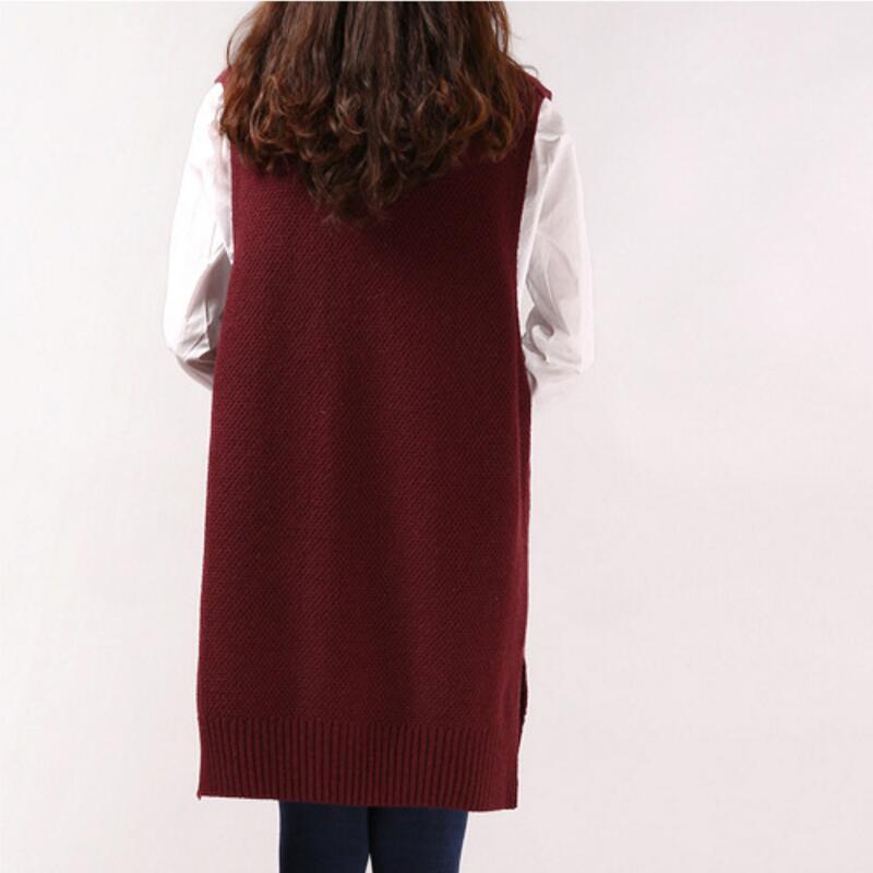 2021 Women Sweater Spring Autumn New Korean Women's V neck Knit Long A shaped Pocket Vest Pullover Sleeveless