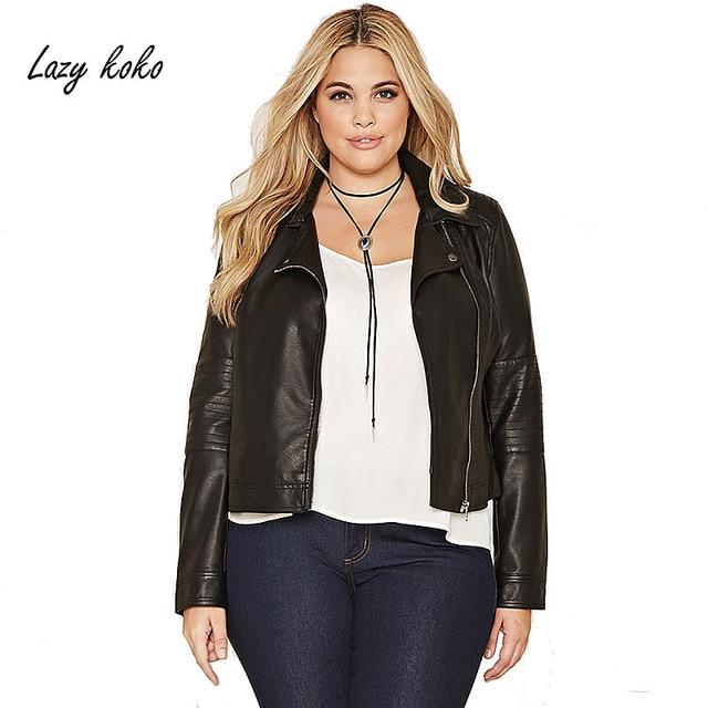 7ed01cada1a27 Lazy KoKo Plus Size Fashion Solid Black Zipper Bomber Jacket Autumn Wild  Biker Style Short Big Size Jacket 3XL-6XL