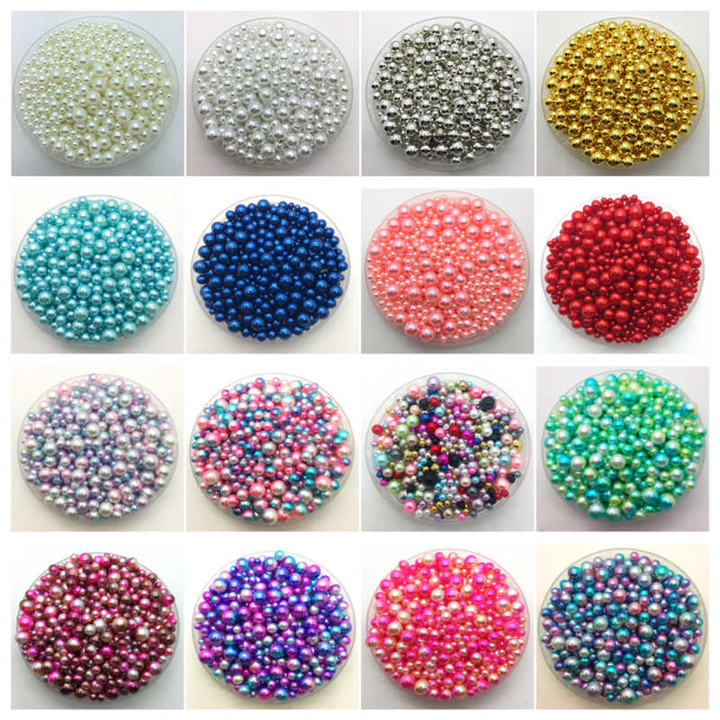 4~10mm 15g Mix Size No Hole ABS Imitation Pearls Round Beads DIY Bracelet Earrings Charms Necklace Beads For Jewelry Making