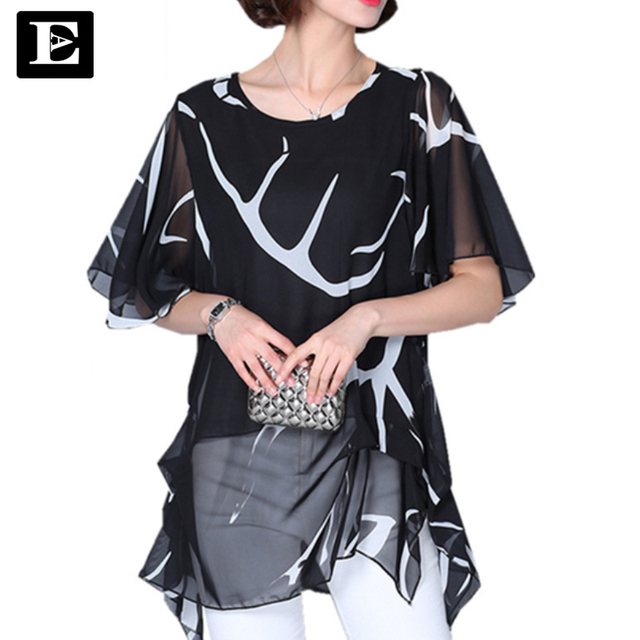 Bat shirt half Sleeve Chiffon Shirts Women printed Tops Long shirt White Blouse 2016 summer style large plus Size XXXXXL DT228
