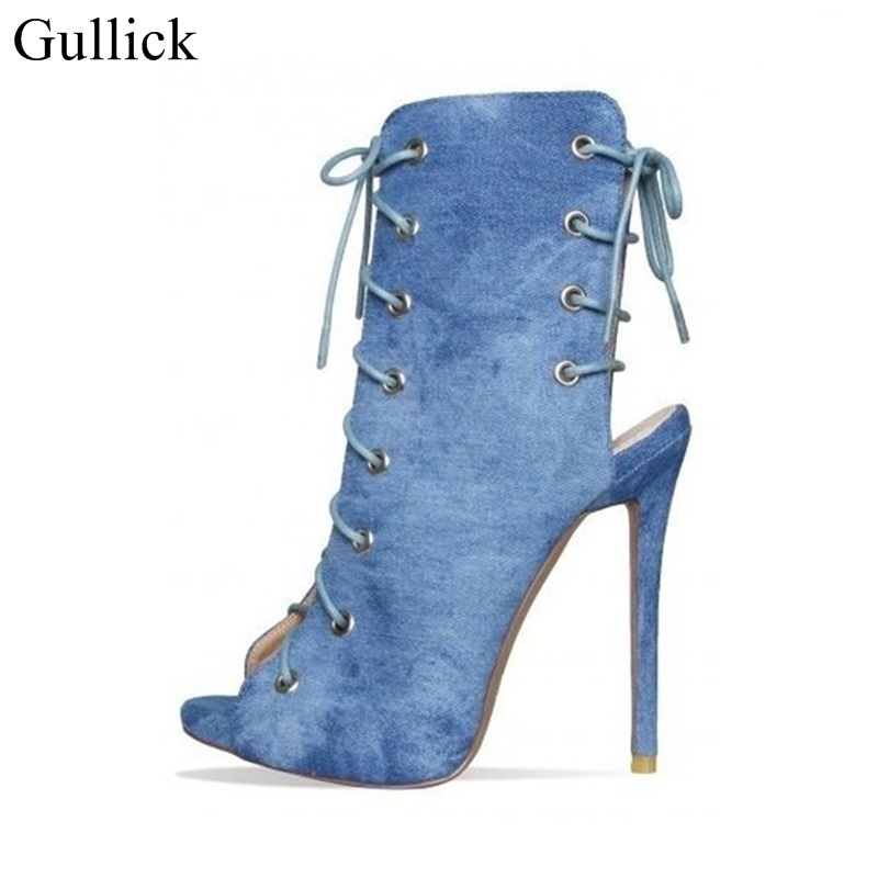 Hot Sale Light Blue Denim Ankle Booties Peep Toe Stiletto Heel Lace Up Jeans Dress Pumps Trend Fashion Strappy Gladiator Sandals denim zipper hollow worn stiletto womens sandals
