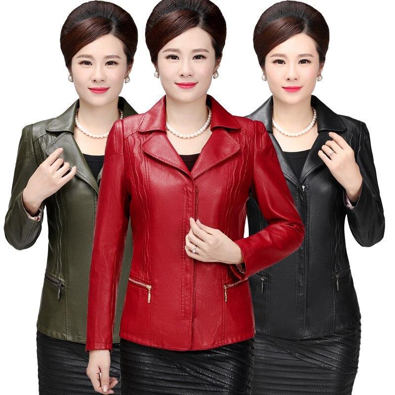 Grande taille 5XL 6XL PU cuir veste femmes Campera Mujer moyen vieilli Biker veste manteau femmes rouge noir Faux cuir vestes C4680