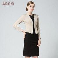 Jane Story Winter Women Patchwork Dress Double Fake Two Pieces Slight Stitching Slim New Design Elegant Office Lady Dress