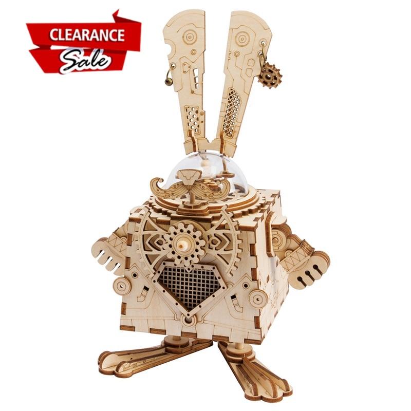 L'europe Acheteur Super Deal Robotime DIY 3D Steampunk Lapin Jeu de Puzzle Assemblé En Bois Boîte à Musique Jouet Cadeau pour Enfants Adolescent AM481