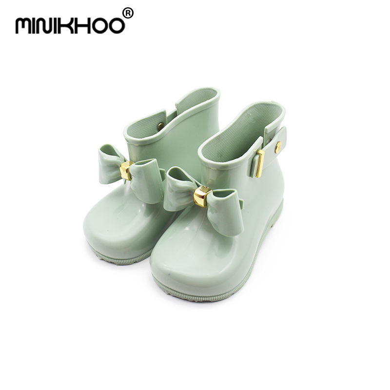 Mini Melissa 2018 Children Bow Butterfly Shoes Girls Jelly Non-slip Water Boots Princess Shoes Melissa Boots Candy Color Sandals