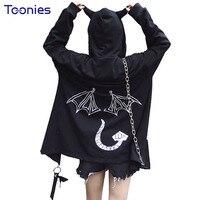 2017 Autumn Hip Hop Devil Cool Women Sweatshirts Tops Coat Outwear Hooded Hoodies Black Plus Size