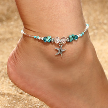 2019 Bohemian Starfish Stone Anklets Set For Women Vintage Handmade Crystal Bead Anklet Bracelet Leg Summer Beach Ocean Jewelry
