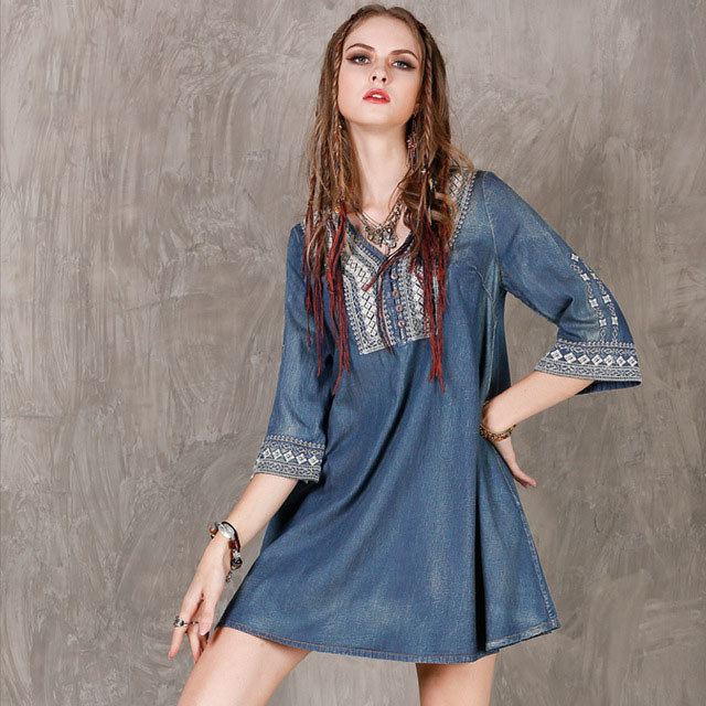 Fashionable and comfortable brand women 39 s clothing 2019 spring summer sleeves denim fabric embroidery large loose women dress in Dresses from Women 39 s Clothing