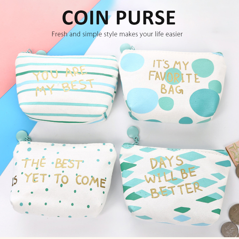 Mint Green Coin Purse Pouch Case Bags Canvas Cotton Mini Blue Storage Box Money Zero Coin Storage Holder Case Key Containers Zip new big brothers money cigarette card case box holder
