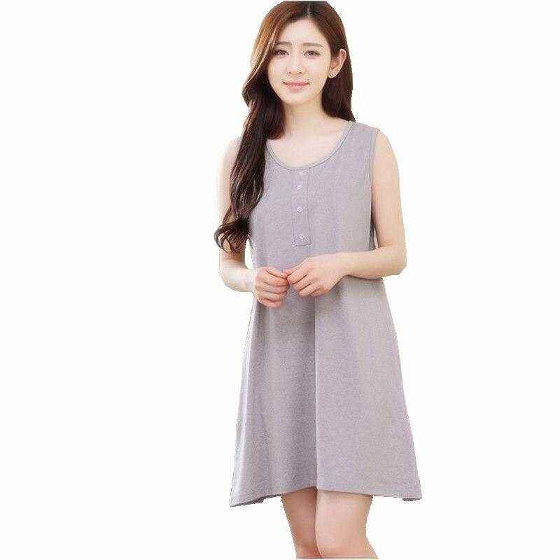 2017 New Design Women\'s Night Dress Summer Cotton Sleeves Nightgown ...