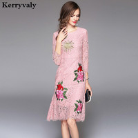 New Floral Embroidery Lace Dress Vestido De Renda 2018 Robe Dentelle Pink Autumn Woman Bodycon Dress