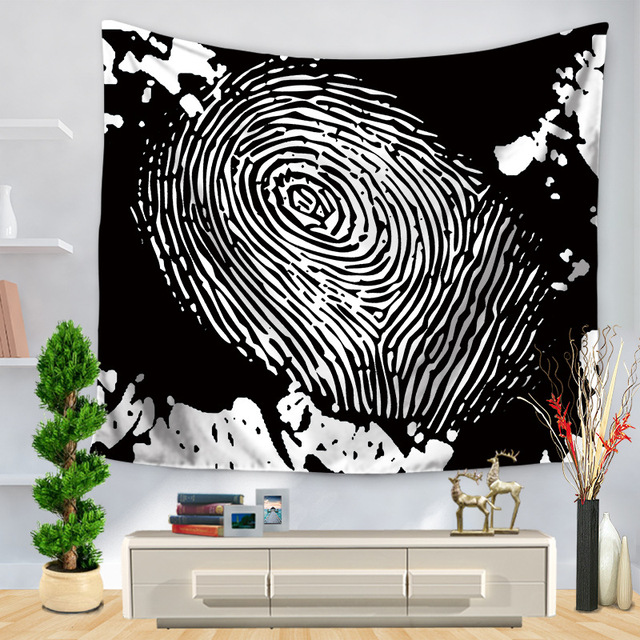 CAMMITEVER Black White Fingerprint Stripes Abstract Modern Tapestries Factory Wholesale Custom Wall Hanging Cloth Tapestry
