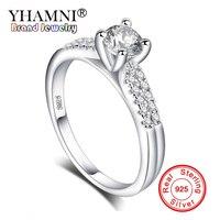 YHAMNI Роскошные 1 карат мм 6 мм CZ Циркон ювелирные изделия из кристаллов оригинальный 925 пробы 100% Серебряное кольцо Модные свадебные кольца для