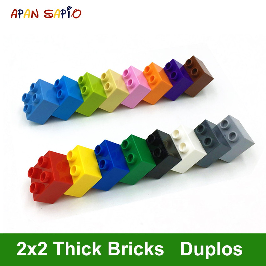 DIY Building Blocks Thick Figures Bricks 2X2Dot 14PCS A Pack Educational Creative Toys For Children Compatible With Legoe Duplos