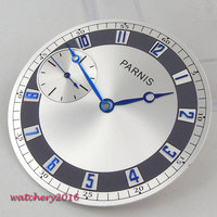 38.3mm parnis silver dial + Blue Hands blue numbers top brand luxury Newest Hot Watch Faces fit ETA 6497 ST 3600 movement