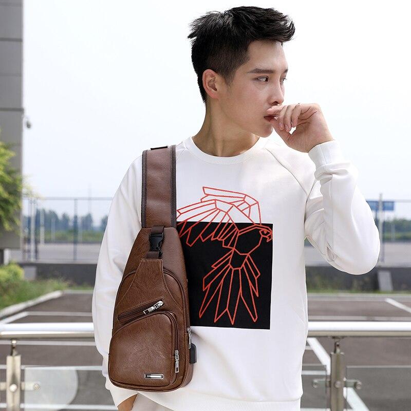 BALEINI 2018 Fashion Messenger New Shoulder Bag Men's Charging Bag Men's USB Breast Bag High quality leather 6