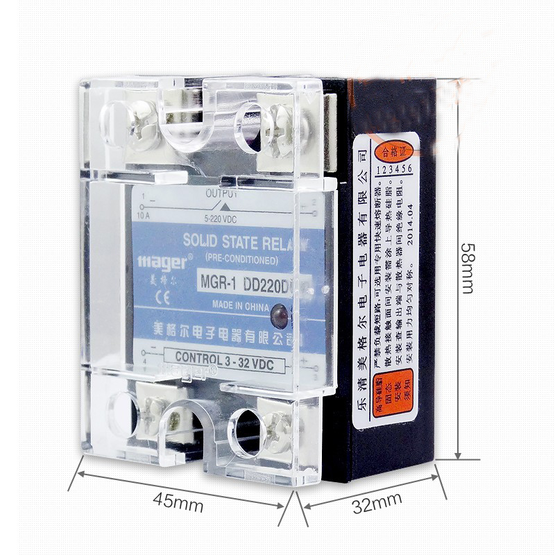 Free shipping 2pc 25A Industrial use Mager SSR 25A DC-DC Single phase solid state relay Quality  24VDC-DC MGR-1 DD220D25 normally open single phase solid state relay ssr mgr 1 d48100 100a dc ac