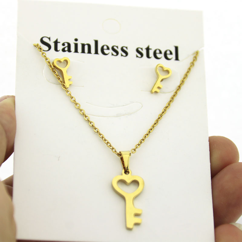 Jewelry-Set Necklace Earrings Gifts Stainless-Steel Women 1set And Lock Key Charms Couple
