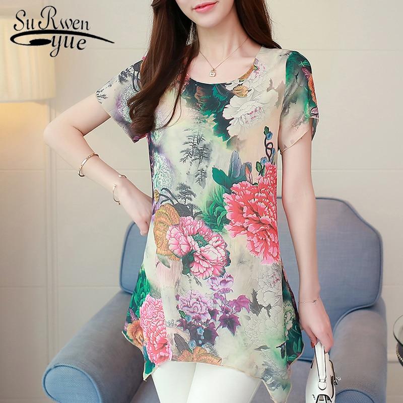 plus size 4XL print chiffon women   blouse     shirt   short sleeve lady summer tops chiffon   blouse     shirt   women clothing blusas 0187 30