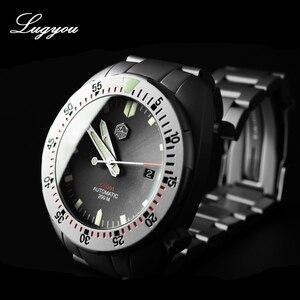 Image 3 - Lugyou San Martin Diver Uomini Orologio Meccanico in Acciaio Inox Sabbiato Zaffiro 20ATM Water Resistant Bracciale in Metallo Lum
