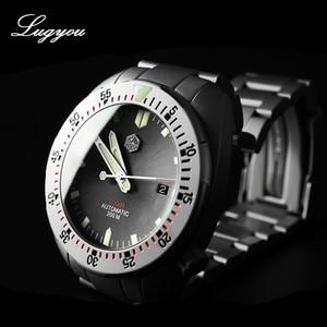 Image 3 - Lugyou San Martin Taucher Männer Uhr Mechanische Edelstahl Sand gestrahlt Sapphire 20ATM Wasserdicht Metall Armband Lum