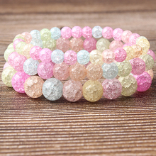 Lingxiang 6/8/10/12mm candy color Crystal exploding glass bracelet The choice of fashionable women