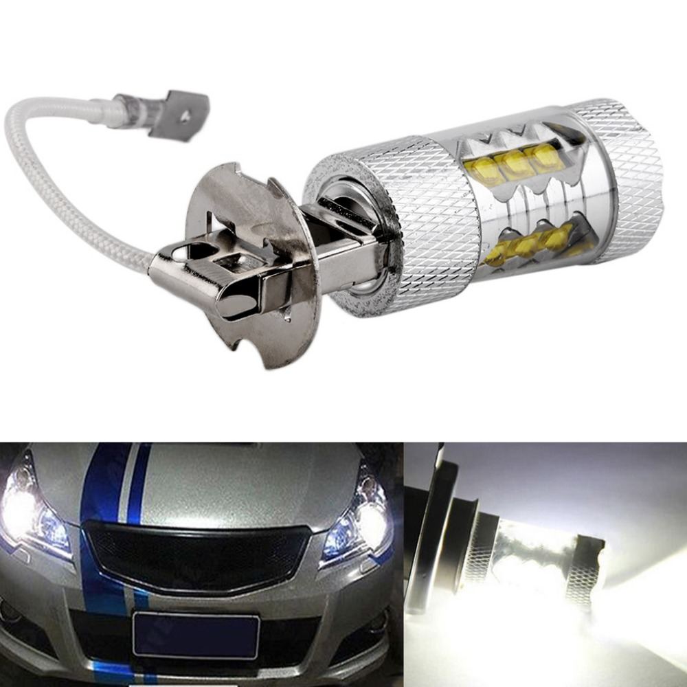 1PC High Power H3 LED Car Light Good 80W LED Super Bright White Fog Tail Turn DRL Head Car Light Daytime Running Lamp Bulb 12V 1pcs high power h3 led 80w led super bright white fog tail turn drl auto car light daytime running driving lamp bulb 12v