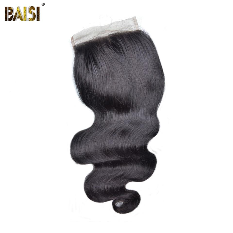 BAISI Hair Peruvian Virgin Hair Swiss Lace Closure Body Wave Hair 5x5 Closure Free Part Middle