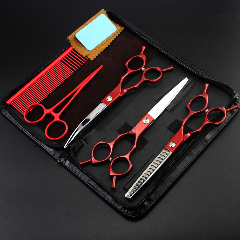 5 kit Professional Japan 440c 6.5 inch red dog grooming hair scissors pet cutting barber thinning shears hairdressing scissors professional 5 5 inch hair scissors brand titan t4 hairdressing shears 6 inch japan 440c cobalt stainless steel to barber gift page 5