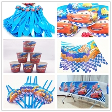 62pcs Disney Lightning Mcqueen Birthday Party Cute Cartoon Supplies Paper Napkin Decoration And