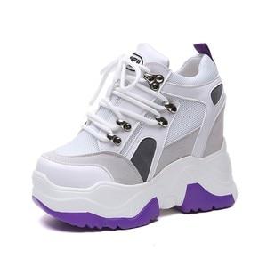 Image 3 - 2019 חדש נשים פלטפורמת נעליים יומיומיות רשת לנשימה טריז עקבים נעלי 10 cm סתיו עבה בלעדי סניקרס אישה Deportivas Mujer